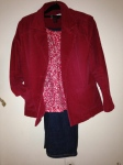 Red jacket, print top, black trouser jeans