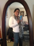 White v neck sweater, cami, jeans and scarf