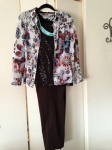 Sleeveless brown sparkle top, cami, print button down, dark brown pants