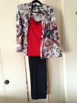 Red and black cami's layered, print top, navy high waisted cuffed pant
